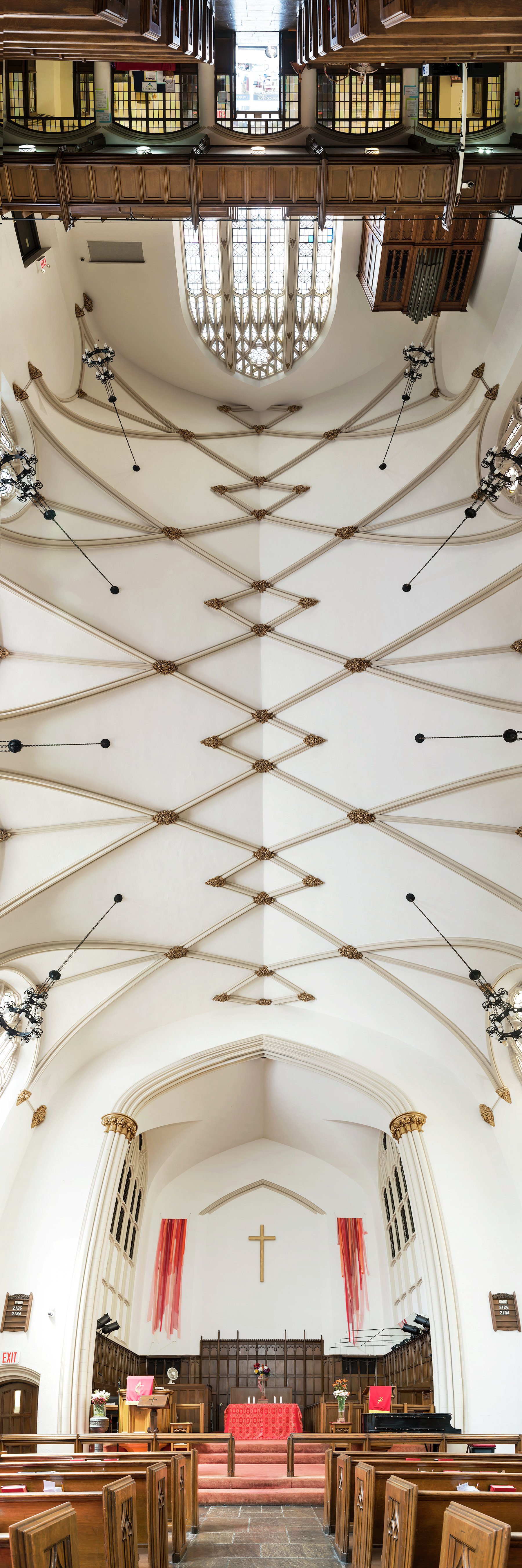 Vertical panoramas of New York churches