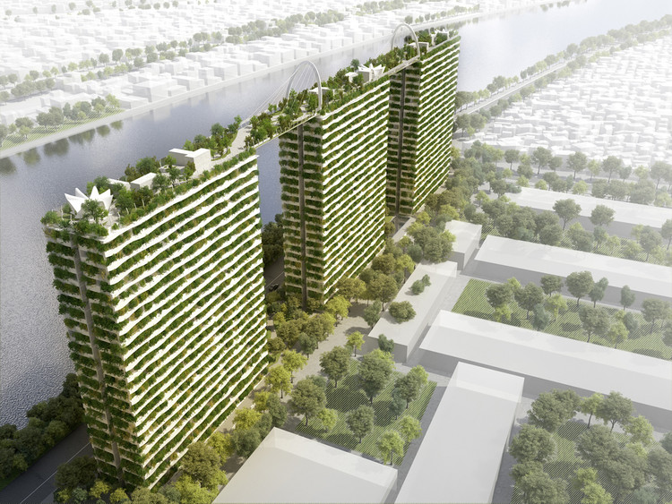 Vo Trong Nghia Architects' Diamond Lotus Brings Greenery to Ho Chi Minh City, Aerial Rendered View. Image Courtesy of Vo Trong Nghia Architects