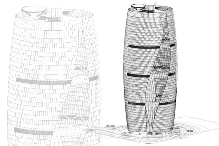 Zaha Hadid propone rascacielos con el atrio más alto del mundo, © ZHA