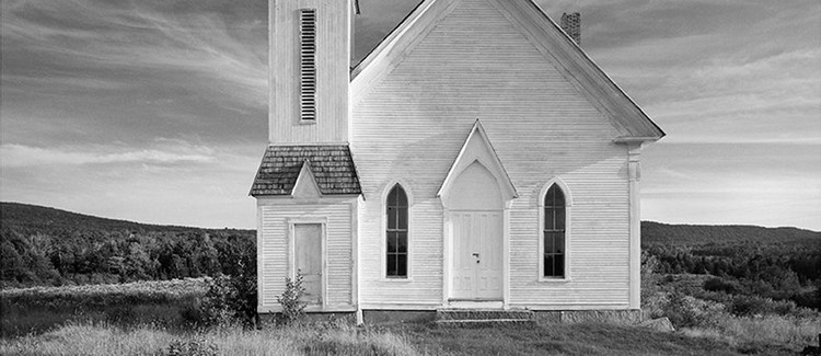 White on White: Churches of Rural New England, Image: Stannard-Greensboro Methodist Church, Stannard-Greensboro Bend Methodist Church, Stannard, Vermont, 1888. Photographed 1972, Steve Rosenthal, cropped.