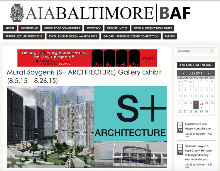 S+ ARCHITECTURE's Recent Projects on Display at AIA Baltimore, AIA Baltimore Newsletter