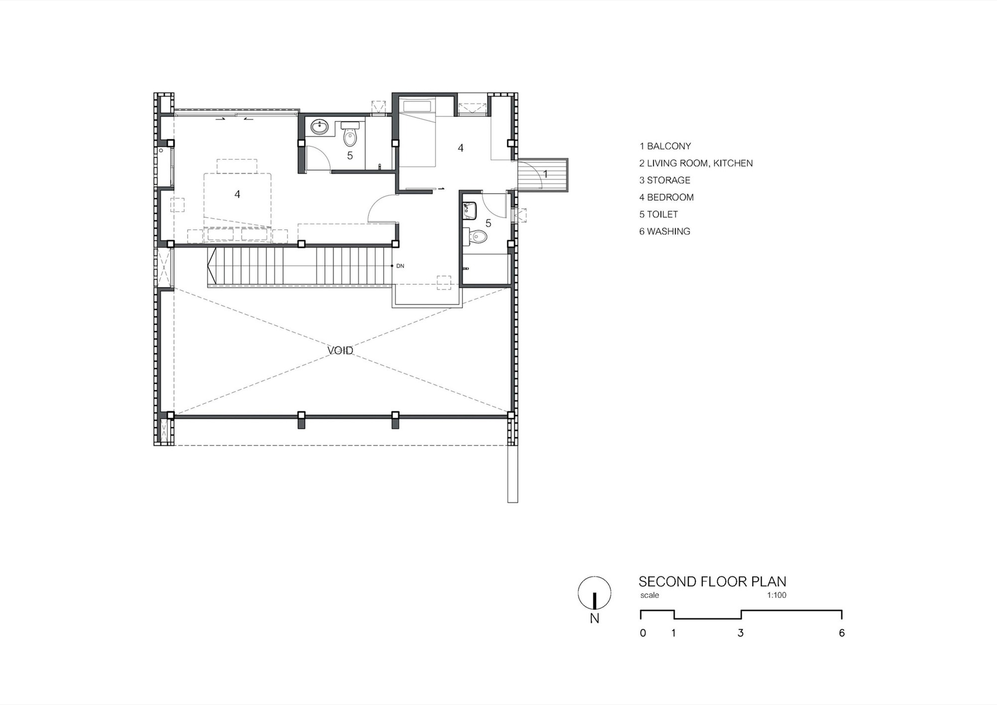 CK House / Full Scale Studio. 18 / 26. Second Floor Plan