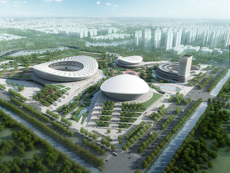 Construction Begins on gmp Architekten's SIP Sports Centre in China, Aerial Rendered View. Image Courtesy of gmp Architekten