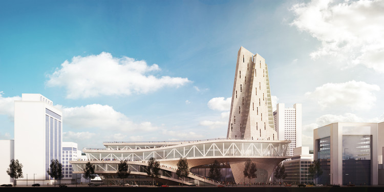 Parsa Khalili and ATELIERPAP Propose Public Plazas and Open Plans for The Busan Hub of Creative Economy , Elevation Rendering. Image Courtesy of Parsa Khalili