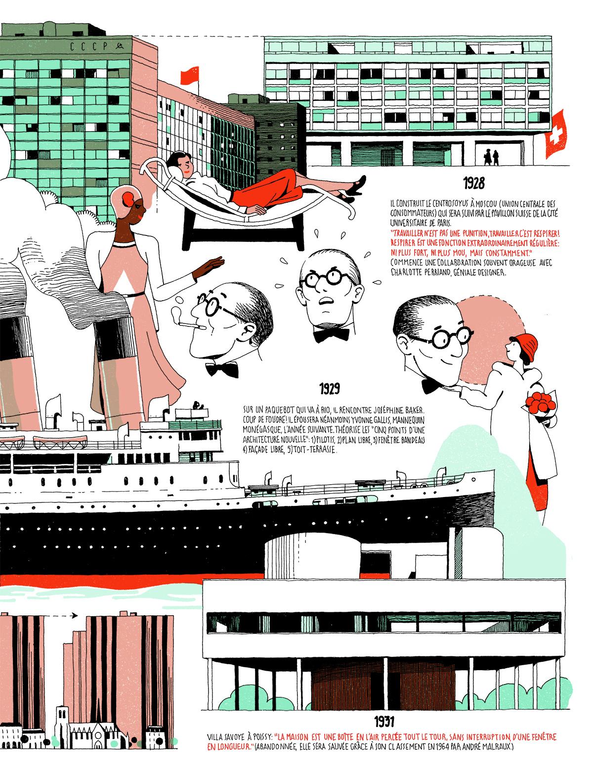 Le Corbusier Les 5 Points infographic: the life of le corbusiervincent mahé