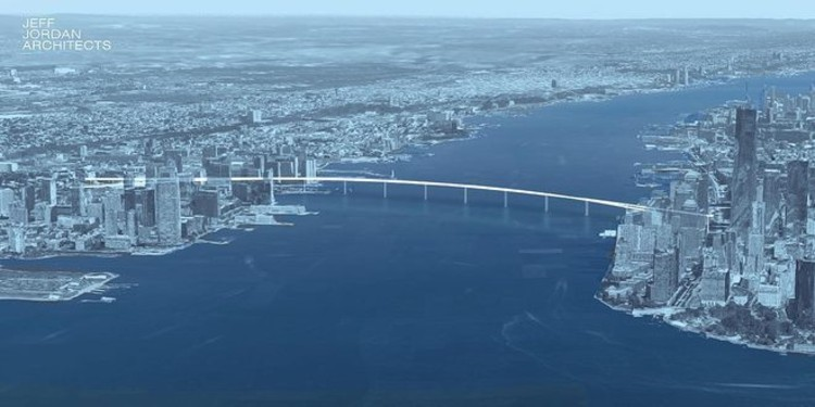 This Proposed Pedestrian Bridge Lets You Walk Between Manhattan and New Jersey, Courtesy of Jeff Jordan Architects, via http://libertybridgeorg.wix.com/libertybridge
