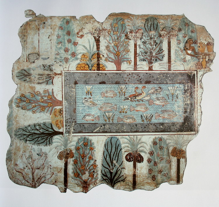 El paisaje no se encuentra, se confecciona, The Garden, Nebamun, Thebes (c.1380 ac)  [Dominio público]. Image vía Wikimedia Commons