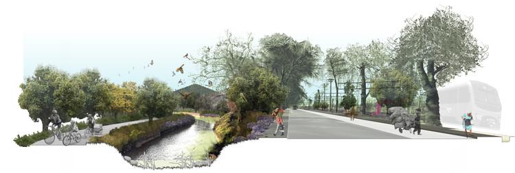 Tercer lugar en Concurso Cerros Isla: Corredor Verde San Bernardo, Canal espejino en avenida Portales. Image Cortesía de Santiago Cerros Isla