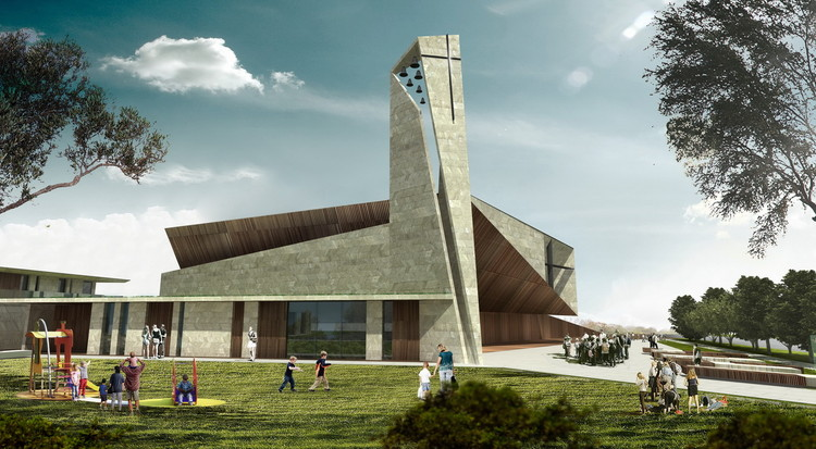 Studio Kuadra's Iconographic Design Selected as Winner of Cinisi Church Competition, Exterior Rendered View. Image Courtesy of Studio Kuadra