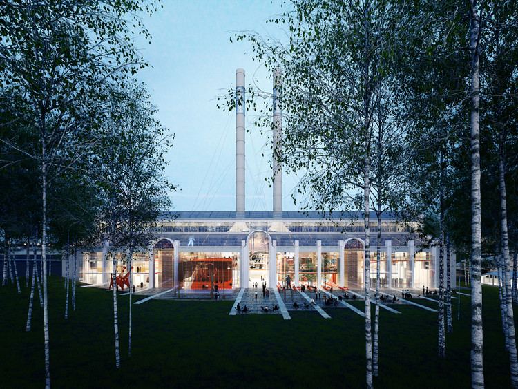 Renzo Piano to Convert Moscow Power Station into an Arts and Culture Center, Rendering View of the Building from the Birch Forest, RPBW, 2015. Image Courtesy of V-A-C Foundation