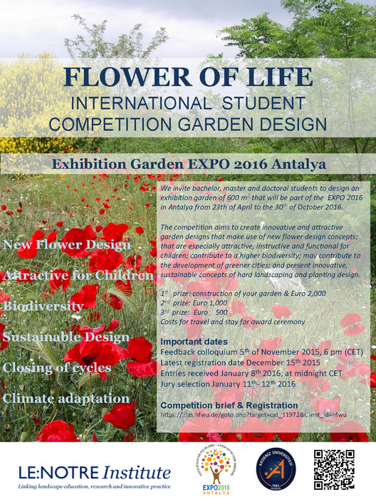 """Flower of Life"" International Student Competition for Garden Design, Poster: 'Flower of Life' International Student Competition for Garden Design"
