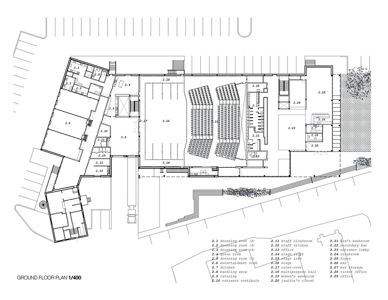 Mont Laurier Multifunctional Theater,Ground Floor Plan