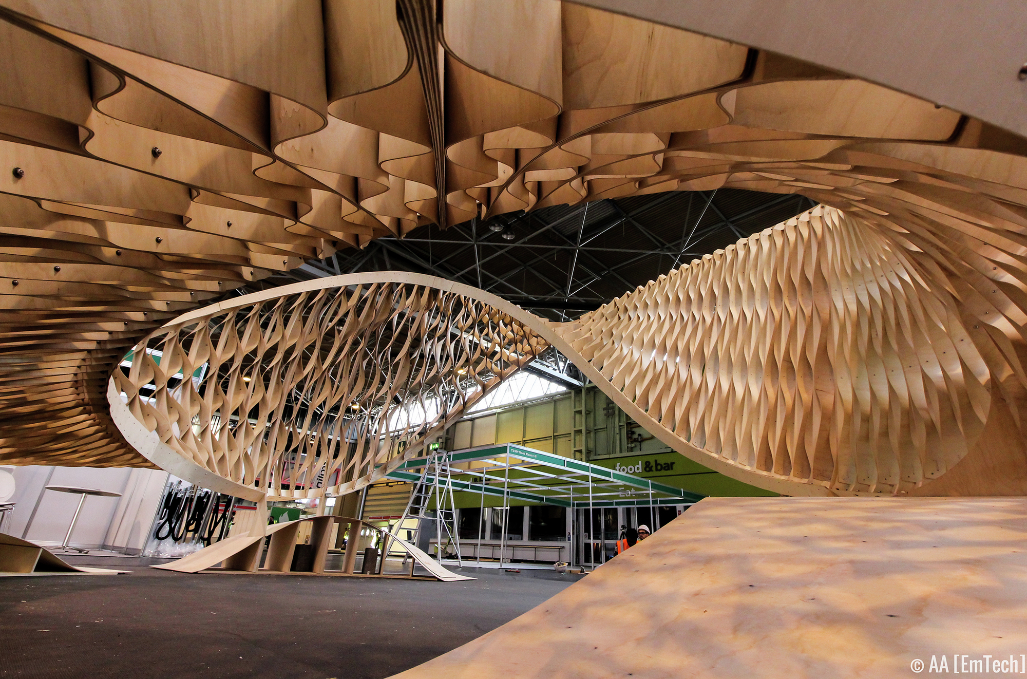 EmTech TWISTs Plywood at the Timber Expo in Birmingham, The TWIST  installation at Timber Expo