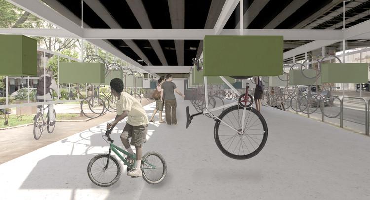 Resultados do 1º Prêmio {CURA}: Bicicletário , Primeiro Lugar. Image Cortesia de 1º Prêmio {CURA}