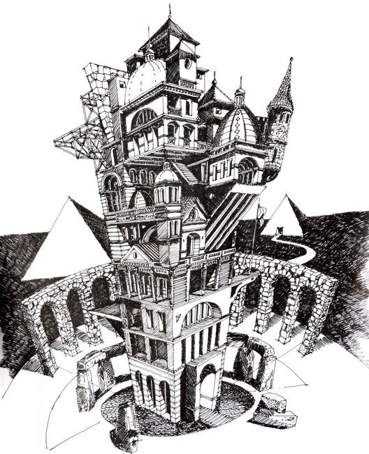 Ilustrações que desafiam a realidade arquitetônica, La Otra Babel. Image Courtesy of Juan Luis López