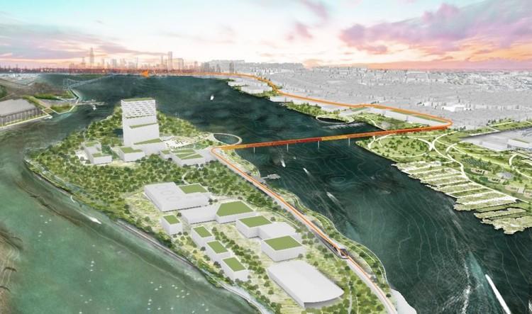 Proposta visa transformar uma ilha abandonada em centro de estudos na Filadélfia, © Centro de Arquitectura de Filadelfia