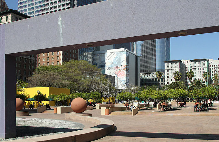 10 Compete to Revitalize Los Angeles' Oldest Park, Los Angeles' Pershing Square in 2012. Image © John O'Neill via Wikipedia's GFDL License