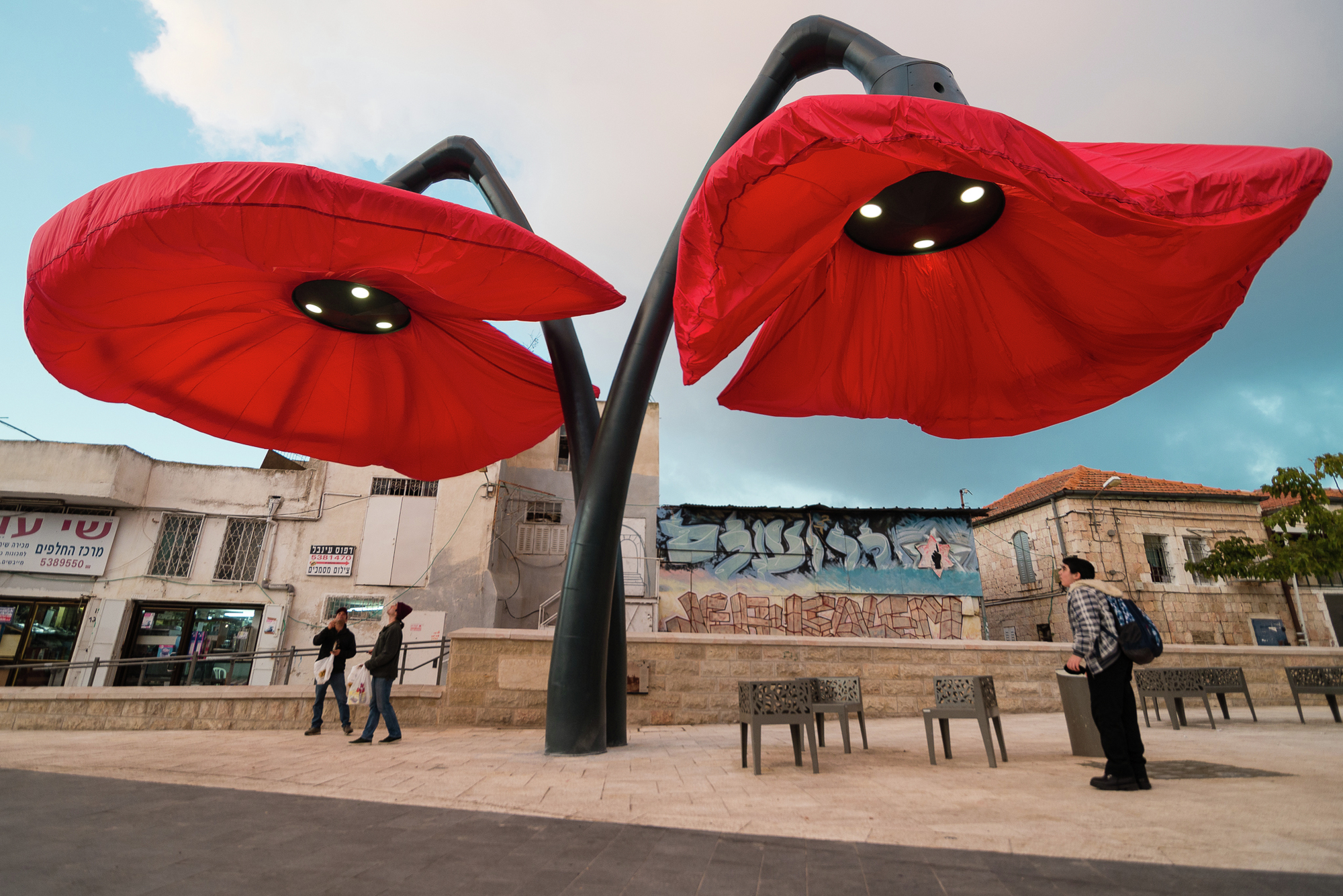HQ's Blooming Flowers React to the Presence of Pedestrians