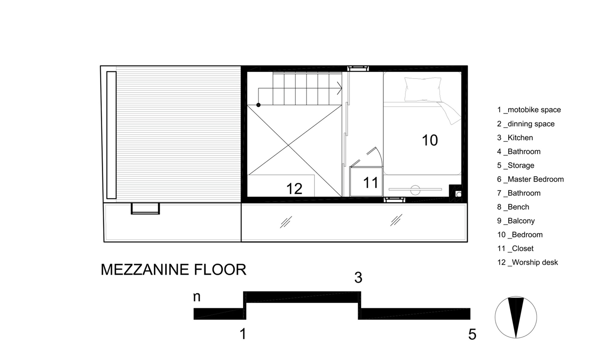 2.5 House / Khuon Studio. 16 / 21. Mezzanine Floor Plan