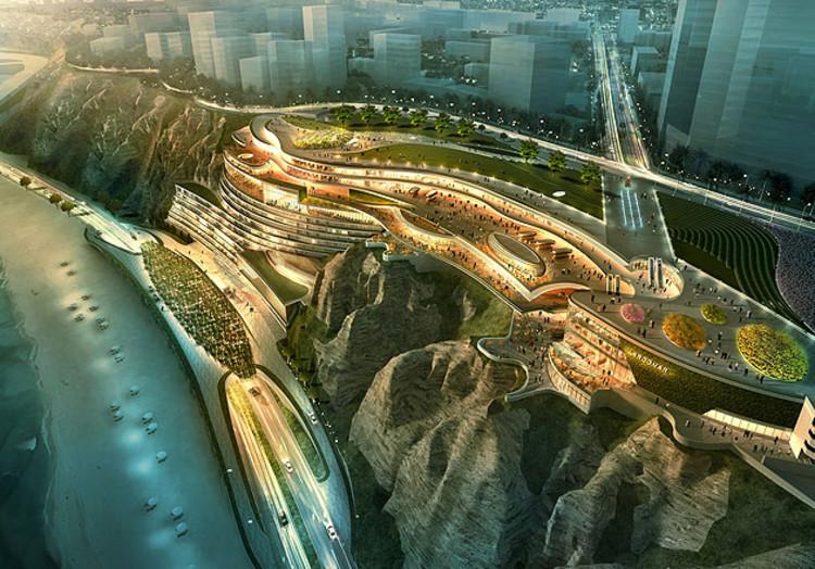 Al filo del acantilado: El debate en torno a las intervenciones en la Costa Verde de Lima, Propuesta Hotel Hyatt. Image vía Gensler