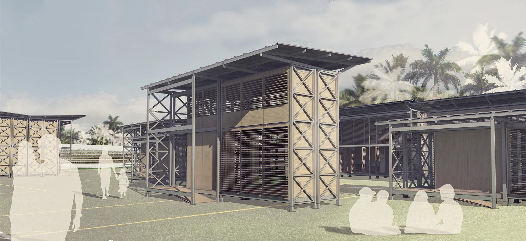 Resultados do concurso estudantil de arquitetura bioclimática da IX Bienal José Miguel Aroztegui / Abrigos de Emergência