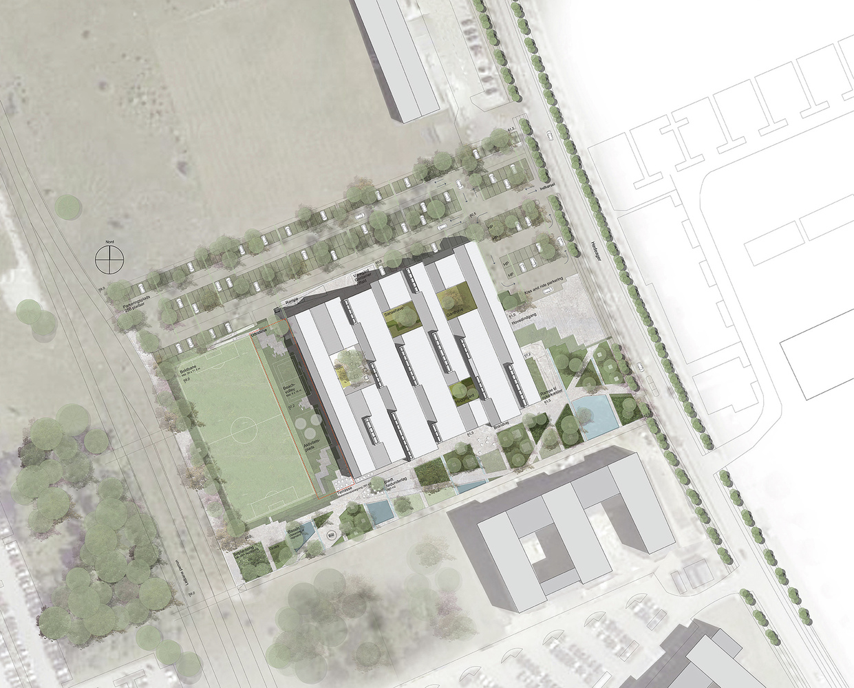 Gallery of Aarhus Social and Health Care College Cubo Arkitekter 13 – Plot Plan And Site Plan