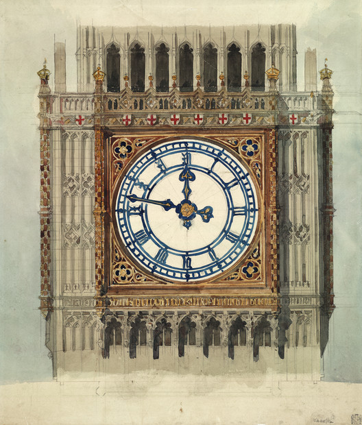 RIBA Makes 90,000 Archival Images Available to View Online, Original design for clock face for the Houses of Parliament / Sir Charles Barry (1838). Image © RIBA Collections