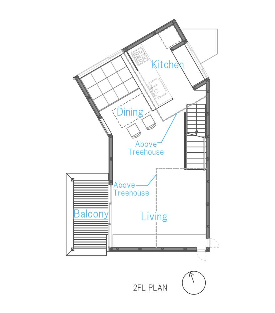 Tree house floor plans Framing Small House With Floating Treehouse Yuki Miyamoto Architect Floor Plan Archdaily Gallery Of Small House With Floating Treehouse Yuki Miyamoto