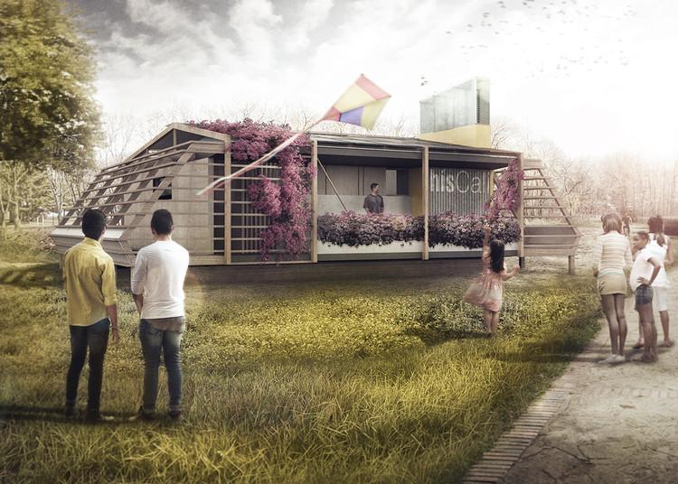 AURA, la propuesta colombo-española para el Solar Decathlon América Latina y el Caribe 2015, Vista interior apartamento. Image Cortesía de Equipo Híscali