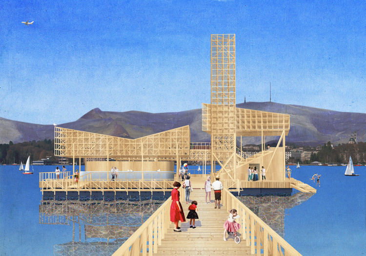 Swiss Students Design a Floating Pavilion on Lake Zurich for Manifesta 11, Rendering of of 'Pavilon of Reflections'. Image © ETH Studio Emerson