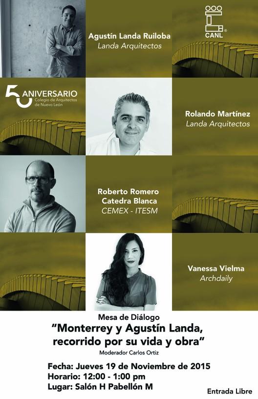 """Mesa de diálogo """"Monterrey y Agustín Landa, recorrido por su obra"""" / Monterrey, diseño por Levadura"""