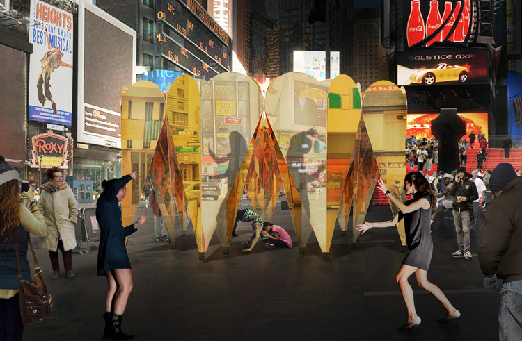 Collective-LOK Designs Mirrored, Ring of Hearts Pavilion for Times Square, Courtesy of Collective–LOK