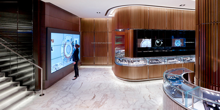 Tech, Big Data, and the Future of Retail Design, The new Watches of Switzerland store in London designed by Callison. Image Courtesy of Callison