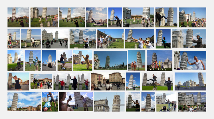 Arquitectura para turistas, Turistas repitiendo la misma pose al fotografiarse con la Torre de Pisa. Image vía Google Images