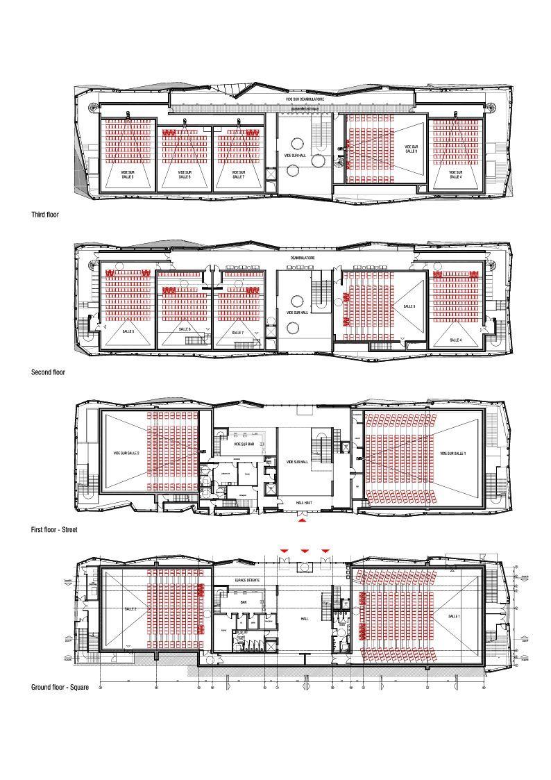 Gallery of le cristal cinema and michel crespin square for Multiplex floor plans