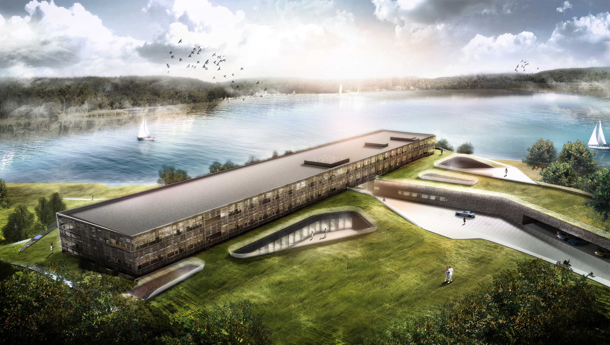 graft begins construction on lakeside hotel and spa in germany archdaily. Black Bedroom Furniture Sets. Home Design Ideas