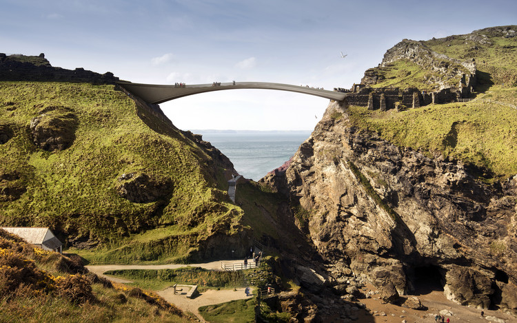 Shortlisted Concept Designs Revealed for the Tintagel Castle Footbridge, Concept Proposal (RFR and Jean-François Blassel Architecte). Image © MRC/Emily Whitfield-Wicks