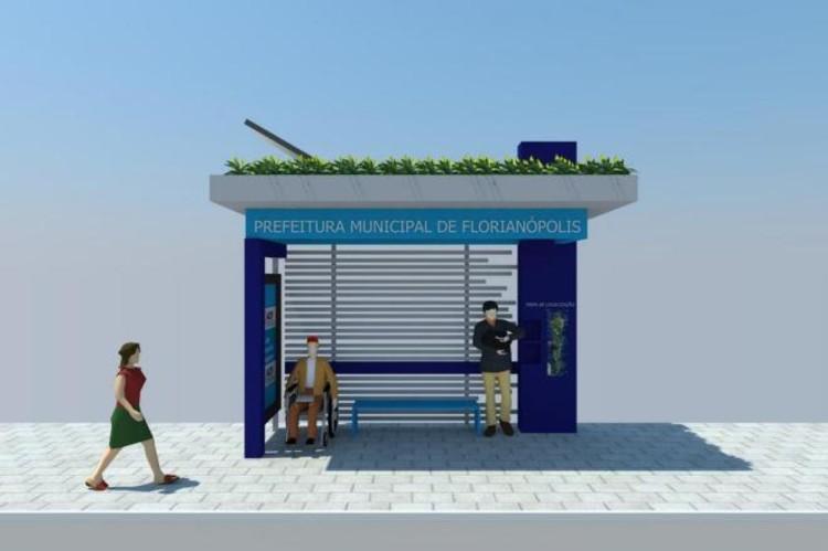 Florianópolis terá ponto de ônibus equipado com painéis fotovoltaicos e cobertura verde, Foto: Acif / Reprodução