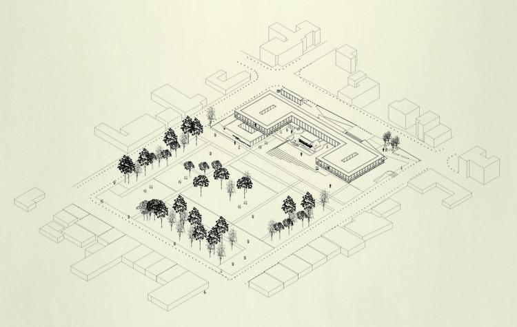 'Compartiendo un lenguaje', segundo lugar en concurso Edificio Consistorial de Papudo, Axonométrica. Image Cortesía de Equipo Segundo Lugar