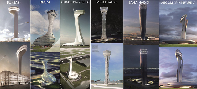 Hadid and Safdie Among 6 Competing to Design Traffic Control Tower at Istanbul New Airport, Proposed designs for Istanbul New Airport's Traffic Control Tower. Image © iGA