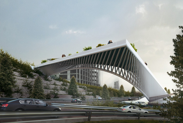 3rd Skin Architects' Haghani Pedestrian Bridge Folds Over Iranian Highway , Courtesy of 3rd Skin Architects