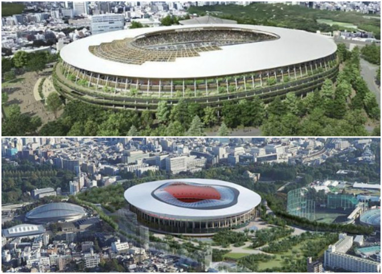 Japan Sport Council Unveils Two Shortlisted Designs For New Tokyo National Stadium, © Japan Sport Council via Curbed