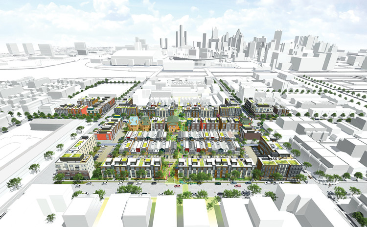 5 Firms Selected to Build New Neighborhood in Detroit's Brush Park Area, Schematic rendering of the area. Image © Brush Park Detroit