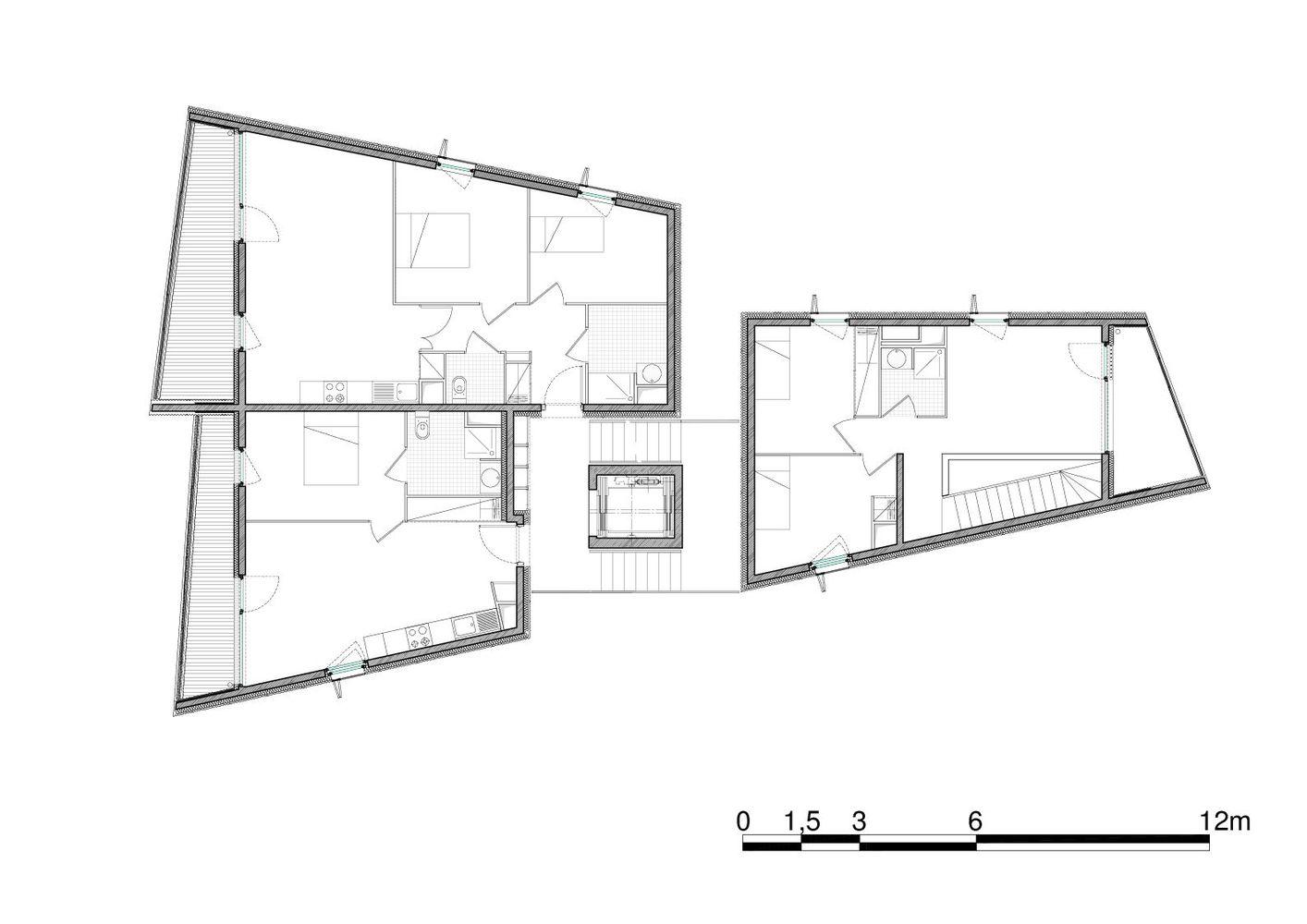 nice floor plan sketch. Social Housing in Nice Floor Plan Gallery of  COMTE et VOLLENWEIDER