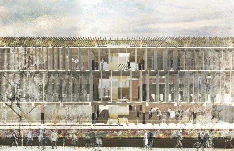 Éstas son las cinco ideas premiadas en la convocatoria del futuro edificio FADEU-CMPC, Primer lugar. Image Cortesía de FADEU UC