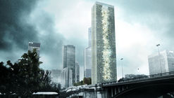 "Tommaso Bernabò Silorata's ""Skyframe"" Wins Super Skyscrapers Competition With its Dizzying Rooftop Pool"