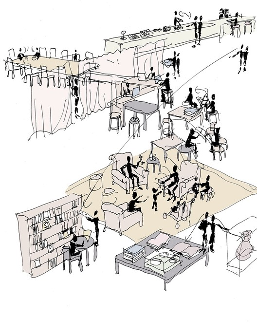Carmody Groarke to Design New Members' Room for V&A Museum in London, Sketch showing overlapping activities within the Members' Room. Image © Carmody Groarke