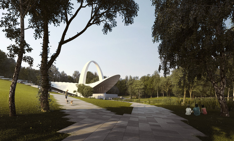 Flanagan Lawrence's New Summer Theatre in Szczecin Reimagines an Outdoor Performance Space from 1976, Rendered View. Image Courtesy of Flanagan Lawrence