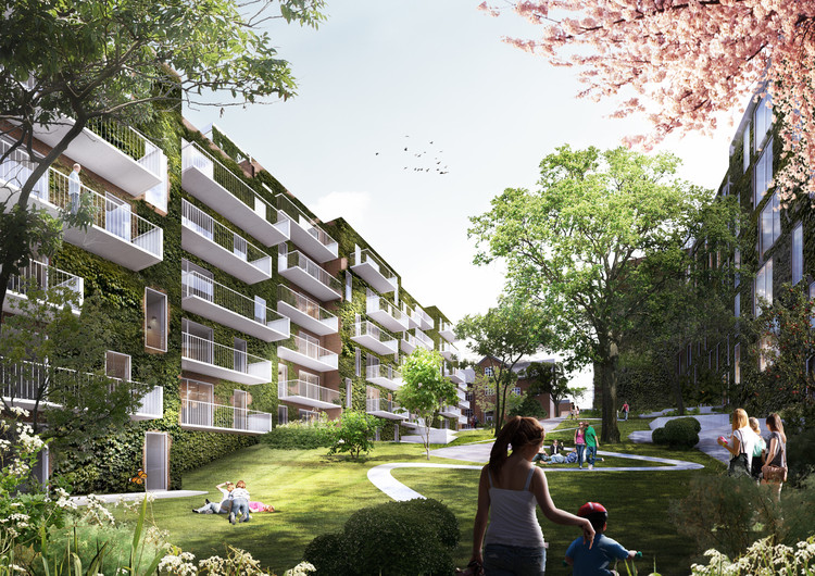 schmidt hammer lassen Architects Wins Competition to Design a Residential Block in Aarhus, Exterior Rendered View. Image Courtesy of schmidt hammer lassen architects