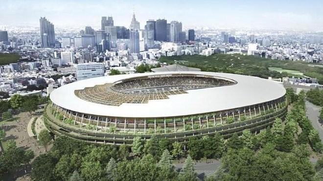 Kengo Kuma nega acusações de cópia do projeto de Zaha Hadid para o Estádio Nacional de Tóquio, Projeto de Kengo Kuma. Imagem © Conselho Desportivo do Japão